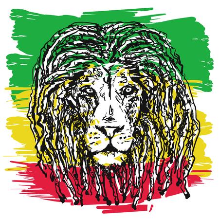 ベクター イラストをラスタファリアンのサブカルチャーの象徴と Jha のジャマイカの国旗色が背景の画像としてドレッドヘアを持つライオンを描い  イラスト・ベクター素材