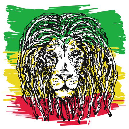 vector illustration depicting a lion with dreadlocks as a symbol of the Rastafarian subculture, and the image of Jha on background Flag colors of  Jamaica. Stock Illustratie
