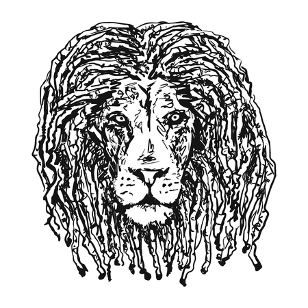 selassie: isolated vectorhead lion with dreadlocks as a symbol of the Rastafarian subculture and the image of Jha. Tattoo artwork. Vector illustration.
