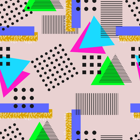 90s: Memphis  style. Seamless geometric vintage seamless pattern in Retro 80s or 90s. Can be used in the textile fabric, paper print, web design. Vector illustration.