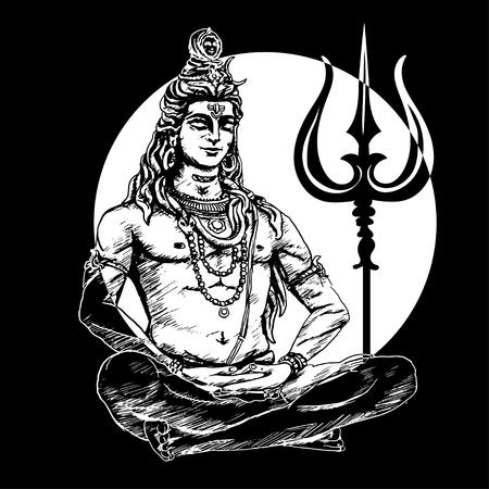 Lord Shiva in de lotushouding en mediteren over de achtergrond van de maan. Om Namah Shivaya. Zwart-wit afbeelding Stock Illustratie