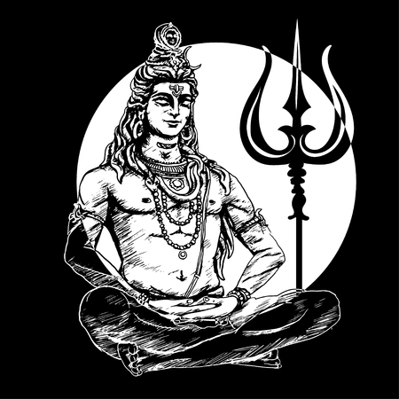 Lord Shiva in the lotus position and meditate on the background of the moon. Om Namah Shivaya. Black and white illustration Illustration