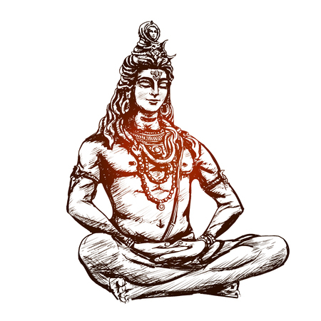 Lord Shiva in the lotus position and meditate. Om Namah Shivaya. Black and white illustration Çizim