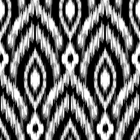 mohawk: Seamless  Ikat Pattern. Abstract black and white background for textile design, wallpaper, surface textures Illustration