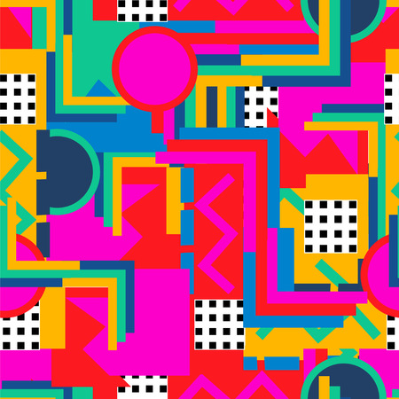 fashion art: Memphis  style. Seamless geometric vintage seamless pattern in Retro 80s or 90s. Can be used in the textile fabric, paper print, web design. Vector illustration.
