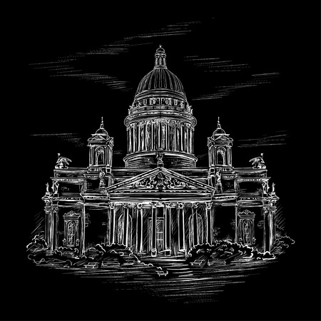 st petersburg: Saint Isaacs Cathedral in St. Petersburg, Russia. Hand drawn sketch  in the style of an ancient engraving on black background