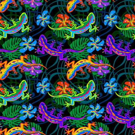 Seamless exotic tropical vector pattern with lizards and leaves