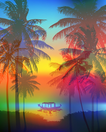tropical sunset: Tropical sunset on palm beach and fishing boat, can be used for a poster, or printing on fabric