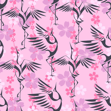 mount fuji: Japanese Hanami festival. Seamless wallpaper on which the dancing cranes on a background of sakura, sun and Mount Fuji. Illustration