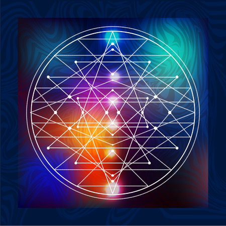 abstract vector background with consecrated symbols of sacred geometry Ilustrace