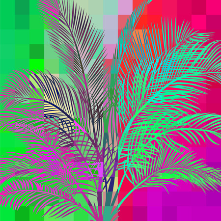 variegated: multicolored abstract background with tropical palm trees in the background of the pixels in the variegated psychedelic colors