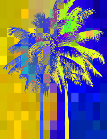 multicolored abstract background with tropical palm trees in the background of the pixels in the variegated psychedelic colors