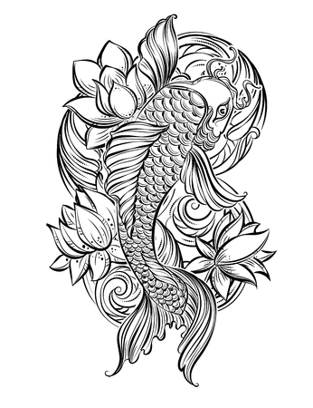 pond: Hand drawn Asian spiritual symbols - koi carp with lotus and waves. It can be used for tattoo and embossing or coloring Illustration