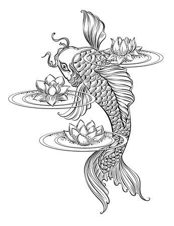 Dibujado a mano símbolos espirituales de Asia - la carpa koi con loto y las olas. Se puede utilizar para tatuaje y gofrado o colorante Foto de archivo - 56653309