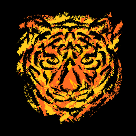 muzzle: stylized tigers muzzle on black background with orange and yellow stripes in grunge style Illustration