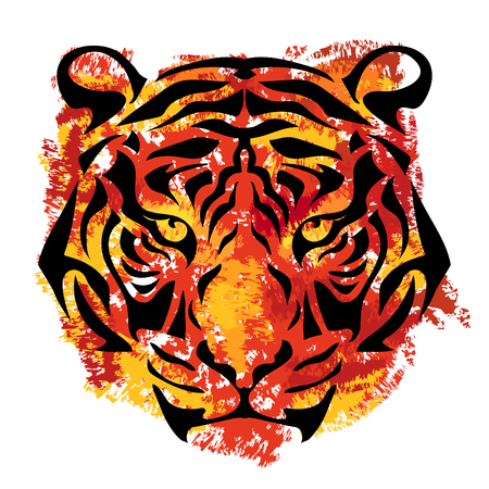 yellow tigers: tigers muzzle on white background with orange and yellow stripes in grunge style