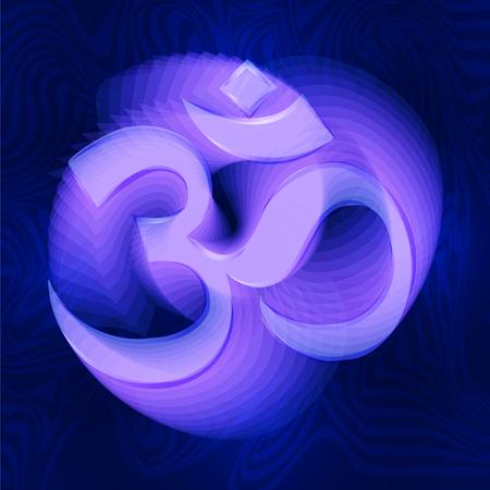 Om - sacred symbol to the Hindu and Buddhist. Divine triad of Brahma, Vishnu and Shiva. Illustration
