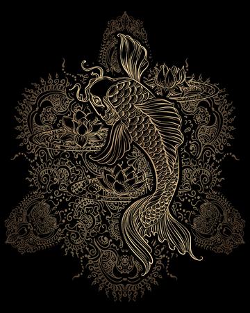 Hand gezeichnet asiatische spirituelle Symbole - Koi-Karpfen mit Lotus und Wellen. Es kann für Tattoo und Prägung oder Farbstoffe verwendet werden,