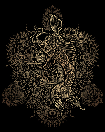 Hand drawn Asian spiritual symbols - koi carp with lotus and waves. It can be used for tattoo and embossing or coloring Illustration