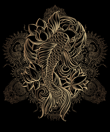 pond: Hand drawn Asian spiritual symbols - gold koi carp with lotus and waves on a black background. It can be used for tattoo and embossing or coloring