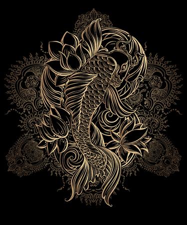 Ręcznie rysowane azjatyckie symbole duchowe - złoty karp koi z lotosu i fale na czarnym tle. Może być używany do tatuażu i tłoczenia lub kolorowania