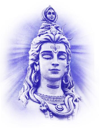 Shivas head with closed eyes