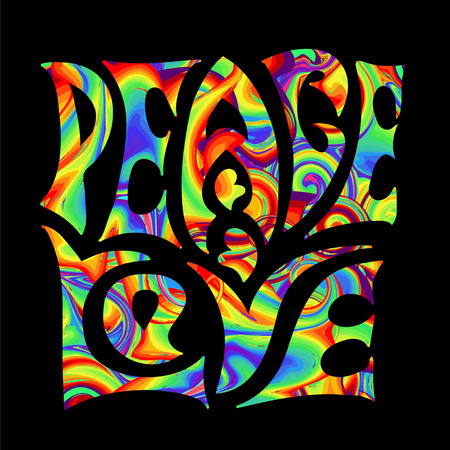 60's: Retro handwritten lettering in the style of 1960s, 60s, 70c Peace and Love. Rainbow psychedelic colors on a black background. Illustration