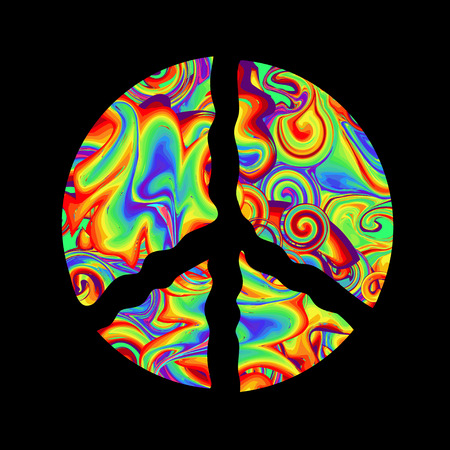 60s: Pacific - a symbol of the hippie. Retro style in the 1960s, 60s, 70c Peace and Love. Rainbow psychedelic colors on a black background. Illustration