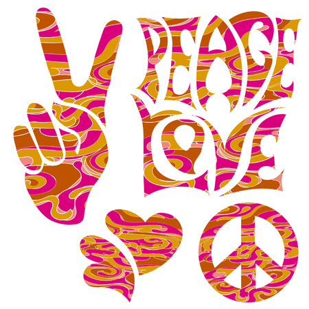 two thumbs up: set of isolated  elements in Hippie Retro style 1960s, 60s, 70c Peace and Love, of Pacific character, two thumbs up and hearts.