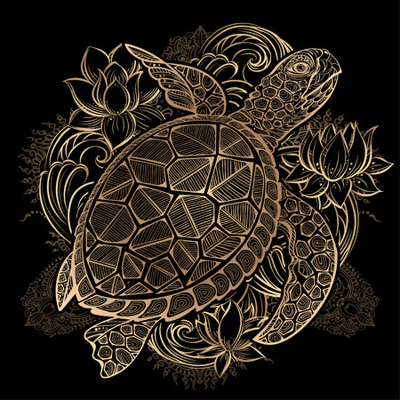 gold  sea turtle and lotus flowers on black background Illustration