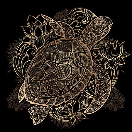 tortues et fleurs de lotus de mer or sur fond noir
