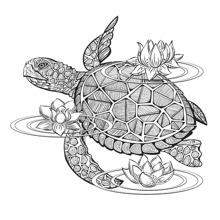 turtles: sea turtle and lotus flowers on a white background for coloring and tattooing