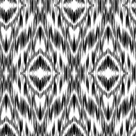 cherokee: Seamless  Ikat Pattern. Abstract black and white background for textile design, wallpaper, surface textures.  Boho style.