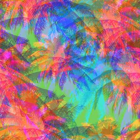 tropical pattern depicting pink and purple palm trees with  with yellow highlights reflections on a turquoise background in crazy colors Ilustração