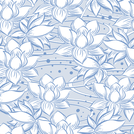 chastity: Seamless pattern from Lotus in the water in gentle tones of blue and white color- it is a symbol of purity, chastity, holiness