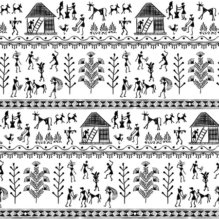 rural india: Warli peynting seamless pattern - hand drawn traditional the ancient tribal art India. Pictorial language is matched by a rudimentary technique depicting rural life of the inhabitants of India