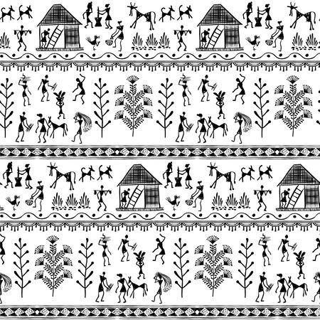 Warli peynting sin patrón - dibujado a mano tradicional del antiguo arte tribal de la India. Los pictogramas se corresponde con una técnica rudimentaria que representa la vida rural de los habitantes de la India Foto de archivo - 58447885
