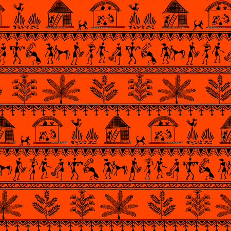 rudimentary: Warli peynting seamless pattern - hand drawn traditional the ancient tribal art India. Pictorial language is matched by a rudimentary technique depicting rural life of the inhabitants of India