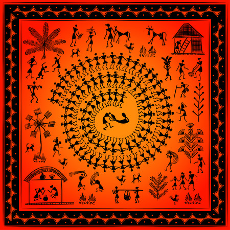 rudimentary: Warli peynting - hand drawn traditional the ancient tribal art India. Pictorial language is matched by a rudimentary technique depicting rural life of the inhabitants of India