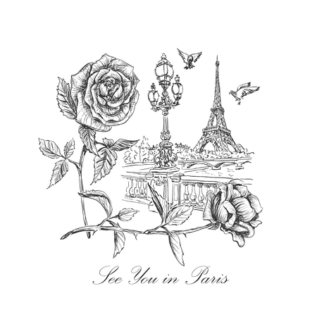 sketch of a quay Seine, the Eiffel Tower, street lights, soaring doves, roses and inscription - See you in Paris