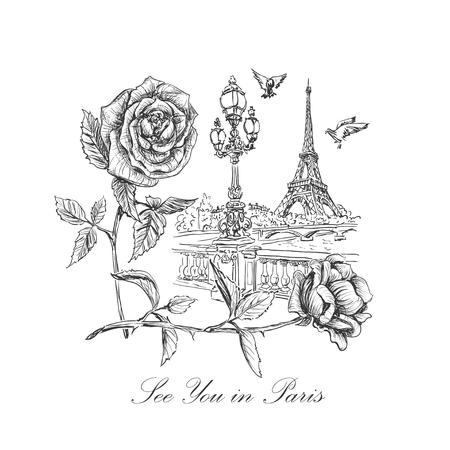 schets van een kade van de Seine, de Eiffeltoren, straatlantaarns, stijgende duiven, rozen en opschrift - Tot ziens in Parijs