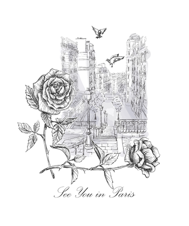 montmartre: sketch with Montmartre, dove, roses and inscription - See you in Paris Illustration