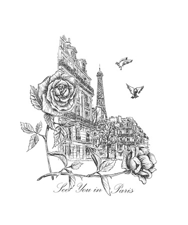 paris street: sketch from the streets of Paris street lights, soaring doves, roses and inscription - See you in Paris