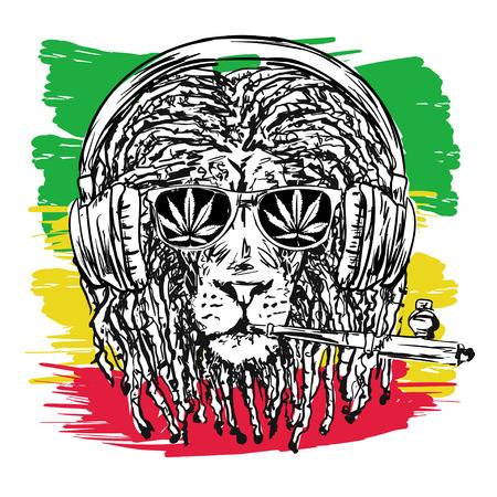 chillum, 안경와 음악 dreadlocks 사자를 묘사 한 벡터 일러스트 레이 션 Rastafarian subculture의 상징으로 및 배경에 Jha의 이미지 자메이카의 플래그 색입니다. 일러스트
