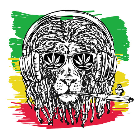 vector illustration depicting a lion with dreadlocks with chillum, glasses and music headphones as a symbol of the Rastafarian subculture, and the image of Jha on background Flag colors of Jamaica.