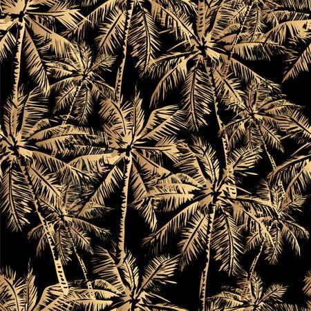 Seamless vector tropical pattern depicting golden palm tree on a black background Illusztráció
