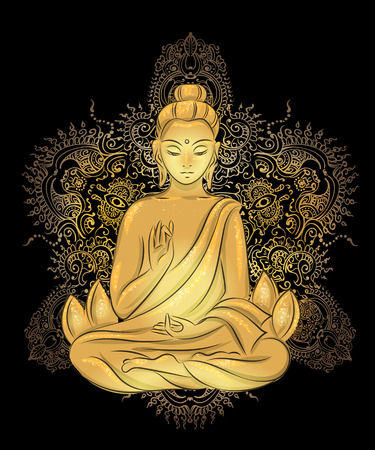 Buddha sitting in the lotus position with an illuminated face on the background of the mandala Ilustração