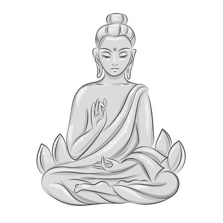 aura sun: monochrome Buddha in the lotus position. isolated vector