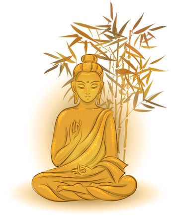 Buddha sitting in the lotus position with an illuminated face on bamboo background