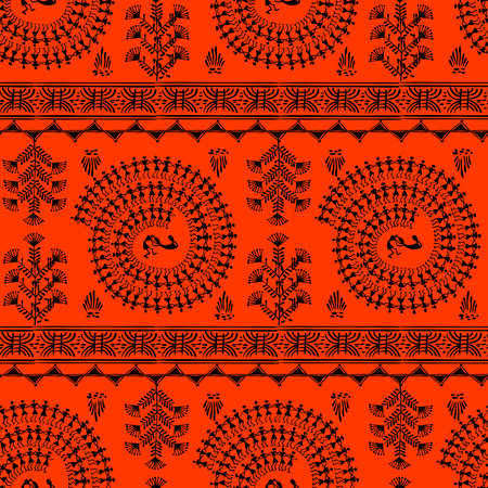 rudimentary: Warli painting seamless pattern - hand drawn traditional the ancient tribal art India. Pictorial language is matched by a rudimentary technique depicting rural life of the inhabitants of India
